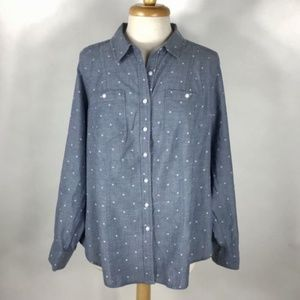 Lane Bryant Polka Dot Chambray Button Front Top